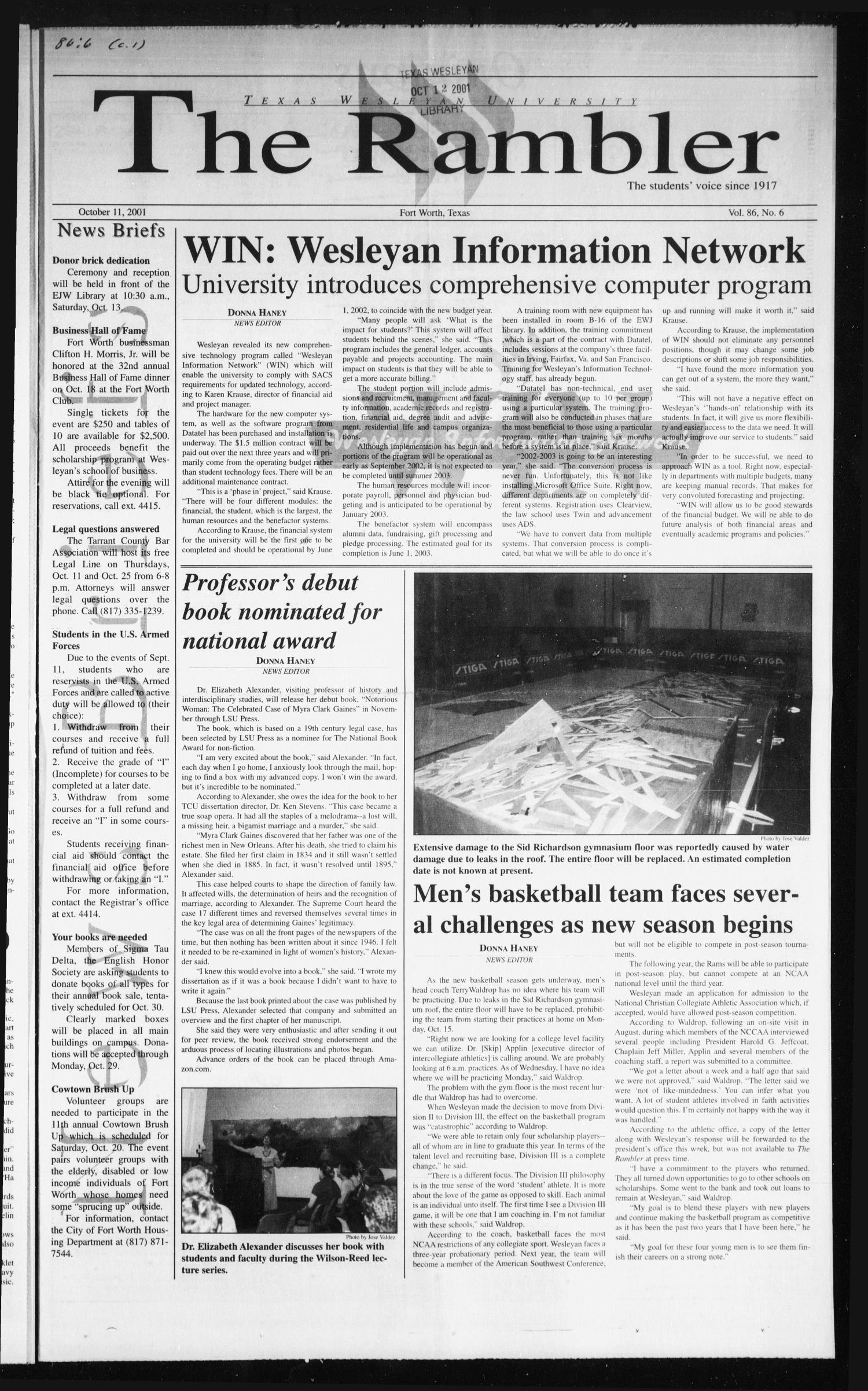The Rambler (Fort Worth, Tex.), Vol. 86, No. 6, Ed. 1 Thursday, October 11, 2001                                                                                                      [Sequence #]: 1 of 4