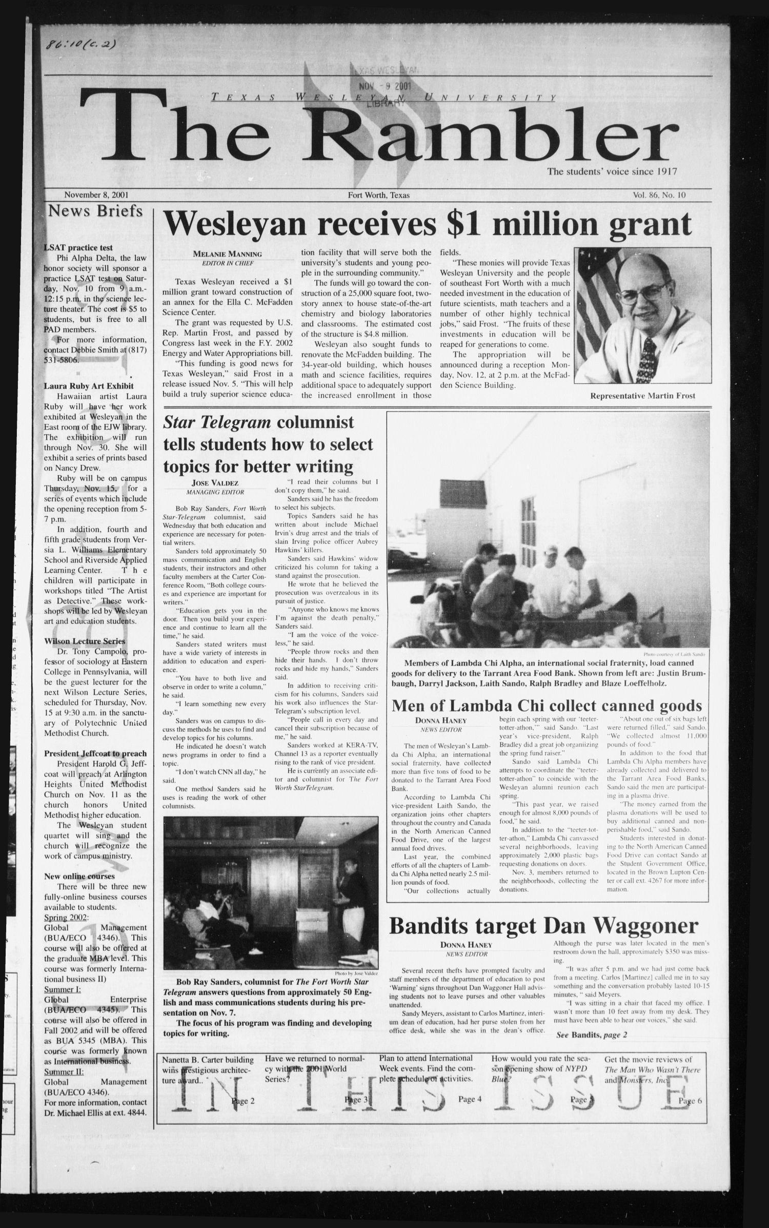 The Rambler (Fort Worth, Tex.), Vol. 86, No. 10, Ed. 1 Thursday, November 8, 2001                                                                                                      [Sequence #]: 1 of 6