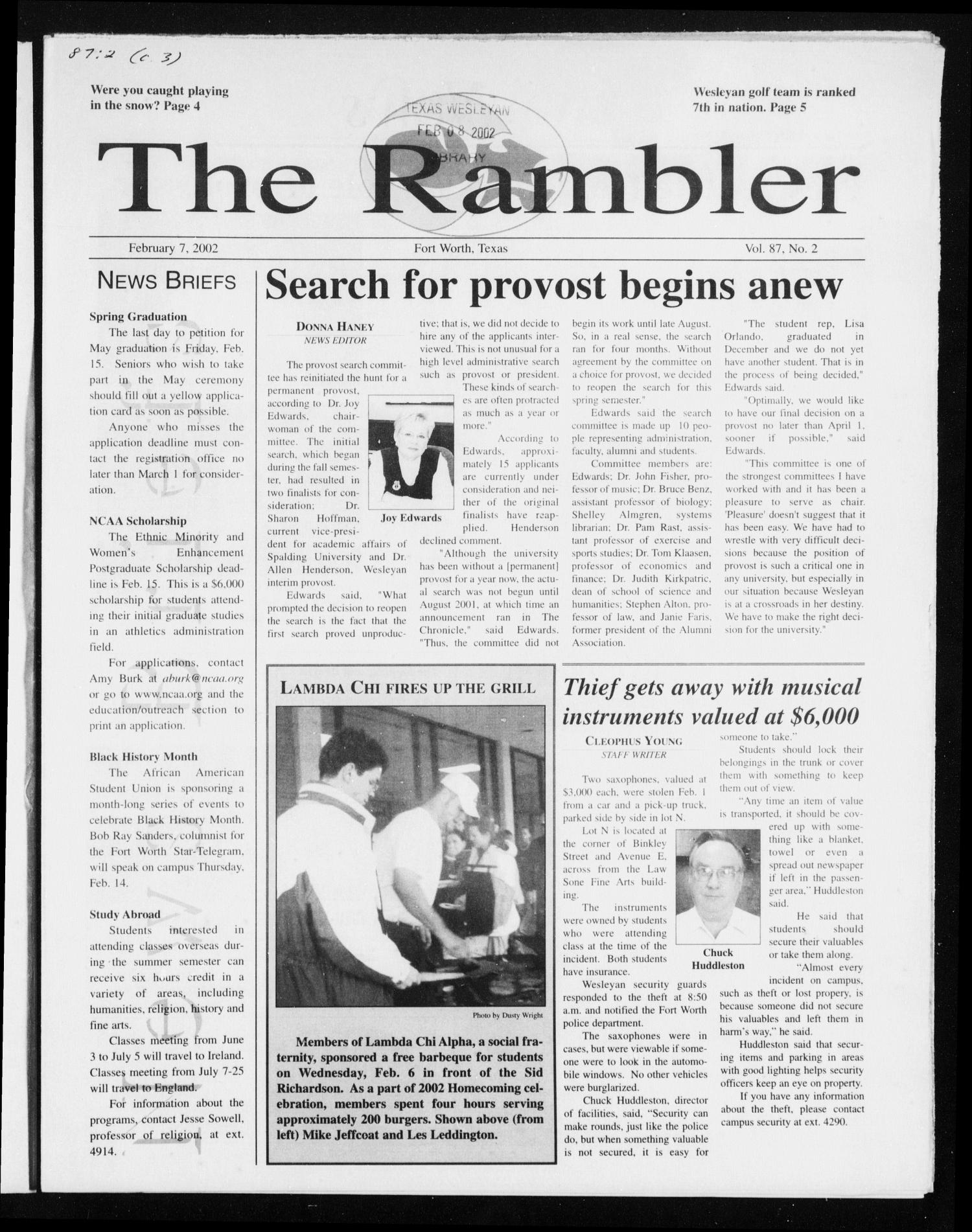 The Rambler (Fort Worth, Tex.), Vol. 87, No. 2, Ed. 1 Thursday, February 7, 2002                                                                                                      [Sequence #]: 1 of 8