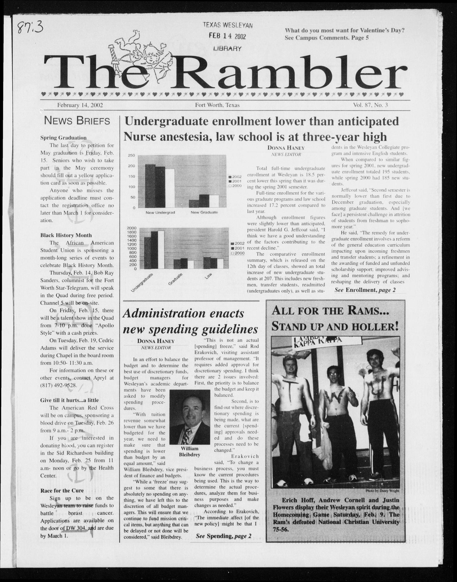 The Rambler (Fort Worth, Tex.), Vol. 87, No. 3, Ed. 1 Thursday, February 14, 2002                                                                                                      [Sequence #]: 1 of 8