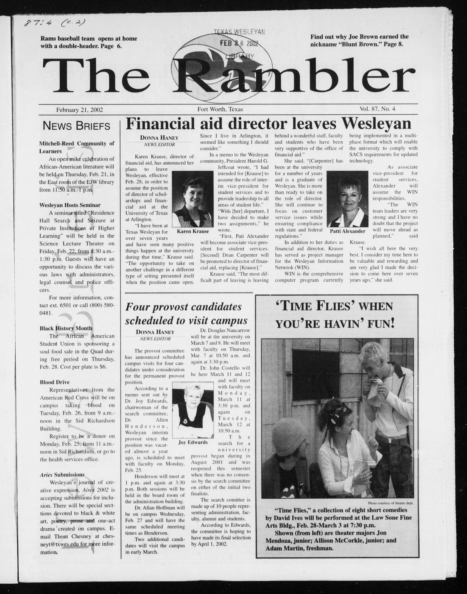 The Rambler (Fort Worth, Tex.), Vol. 87, No. 4, Ed. 1 Thursday, February 21, 2002                                                                                                      [Sequence #]: 1 of 8