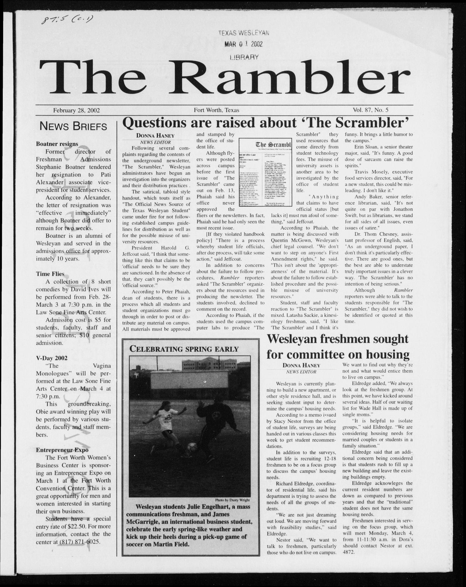 The Rambler (Fort Worth, Tex.), Vol. 87, No. 5, Ed. 1 Thursday, February 28, 2002                                                                                                      [Sequence #]: 1 of 8
