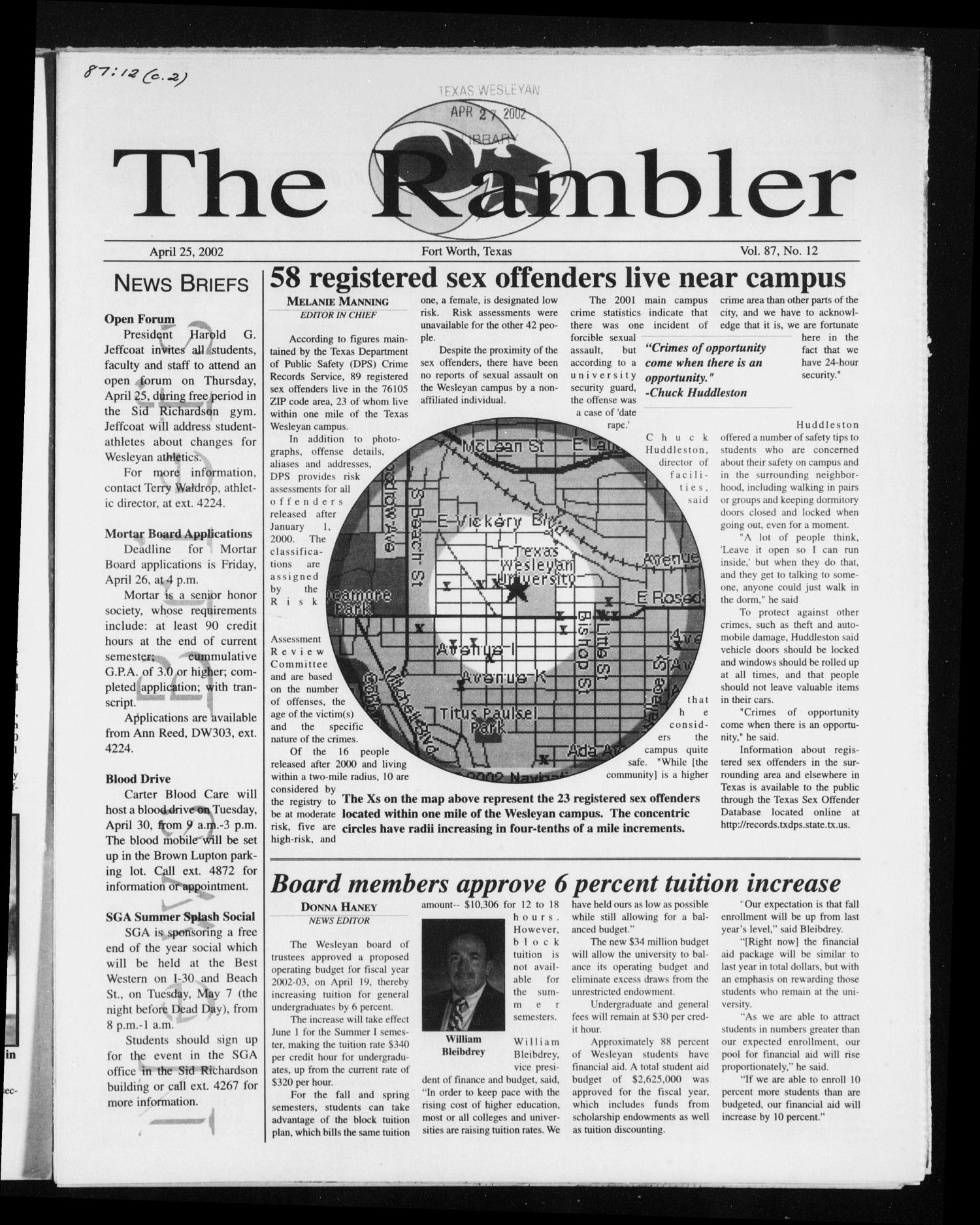 The Rambler (Fort Worth, Tex.), Vol. 87, No. 12, Ed. 1 Thursday, April 25, 2002                                                                                                      [Sequence #]: 1 of 8