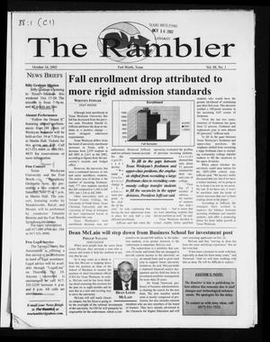 Primary view of object titled 'The Rambler (Fort Worth, Tex.), Vol. 88, No. 1, Ed. 1 Wednesday, October 16, 2002'.
