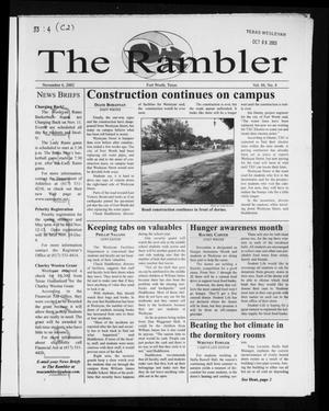 Primary view of object titled 'The Rambler (Fort Worth, Tex.), Vol. 88, No. 4, Ed. 1 Wednesday, November 6, 2002'.