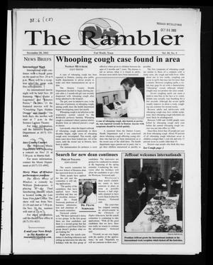 Primary view of object titled 'The Rambler (Fort Worth, Tex.), Vol. 88, No. 6, Ed. 1 Wednesday, November 20, 2002'.