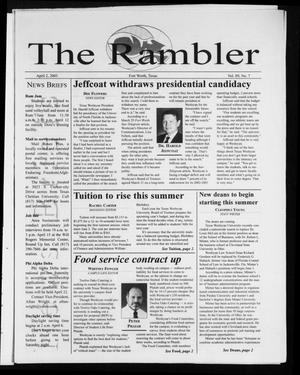 Primary view of object titled 'The Rambler (Fort Worth, Tex.), Vol. 89, No. 7, Ed. 1 Wednesday, April 2, 2003'.