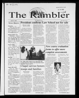 Primary view of object titled 'The Rambler (Fort Worth, Tex.), Vol. 89, No. 10, Ed. 1 Wednesday, April 23, 2003'.