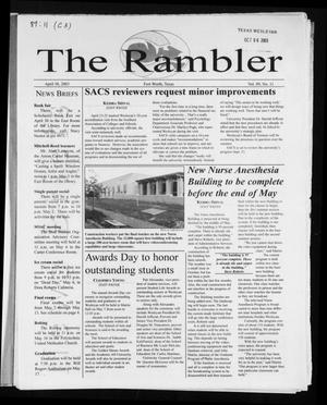 Primary view of object titled 'The Rambler (Fort Worth, Tex.), Vol. 89, No. 11, Ed. 1 Wednesday, April 30, 2003'.