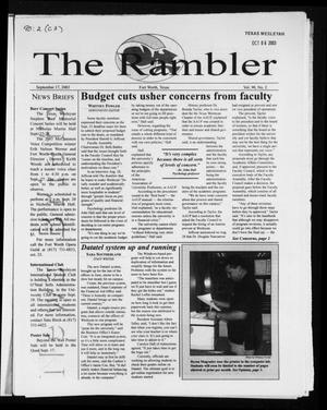 Primary view of object titled 'The Rambler (Fort Worth, Tex.), Vol. 90, No. 2, Ed. 1 Wednesday, September 17, 2003'.