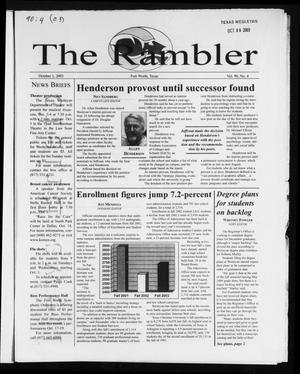 Primary view of object titled 'The Rambler (Fort Worth, Tex.), Vol. 90, No. 4, Ed. 1 Wednesday, October 1, 2003'.