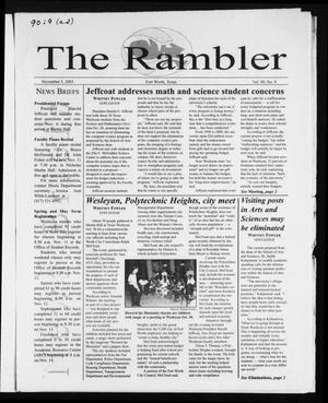 Primary view of object titled 'The Rambler (Fort Worth, Tex.), Vol. 90, No. 9, Ed. 1 Wednesday, November 5, 2003'.