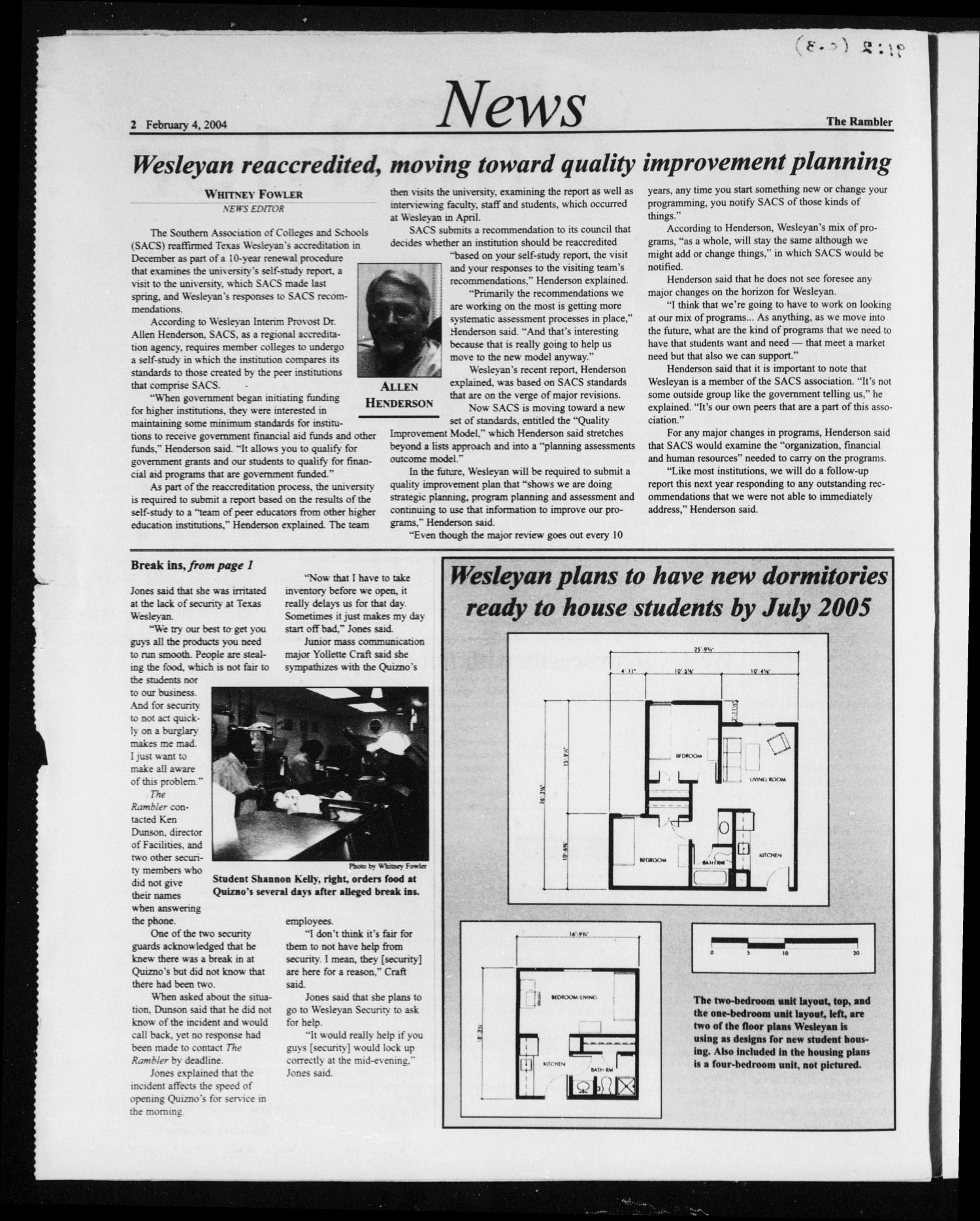 The Rambler (Fort Worth, Tex.), Vol. 91, No. 2, Ed. 1 Wednesday, February 4, 2004                                                                                                      [Sequence #]: 2 of 8