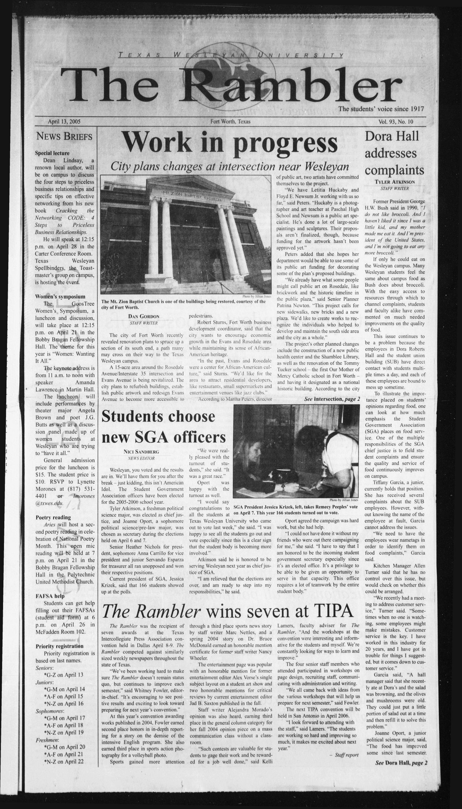 The Rambler (Fort Worth, Tex.), Vol. 93, No. 10, Ed. 1 Wednesday, April 13, 2005                                                                                                      [Sequence #]: 1 of 8