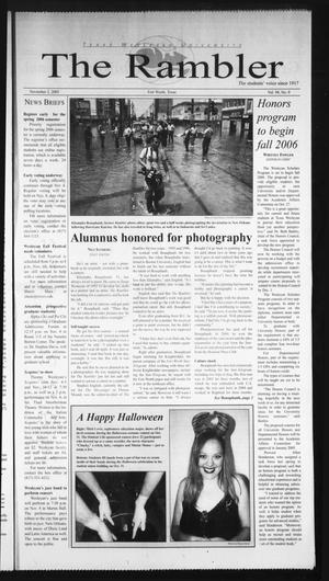 Primary view of object titled 'The Rambler (Fort Worth, Tex.), Vol. 94, No. 9, Ed. 1 Wednesday, November 2, 2005'.