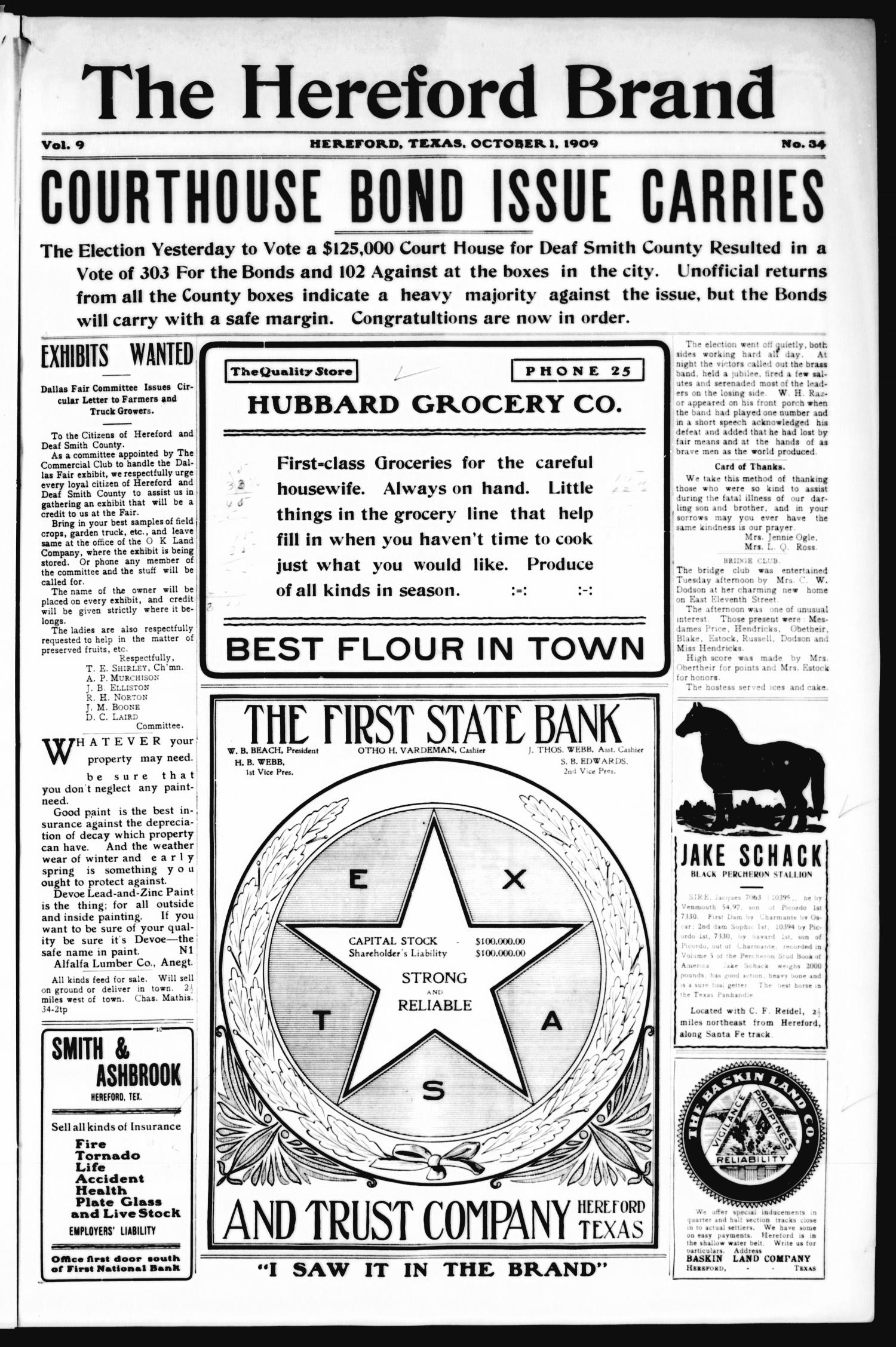 The Hereford Brand, Vol. 9, No. 34, Ed. 1 Friday, October 1, 1909                                                                                                      [Sequence #]: 1 of 12