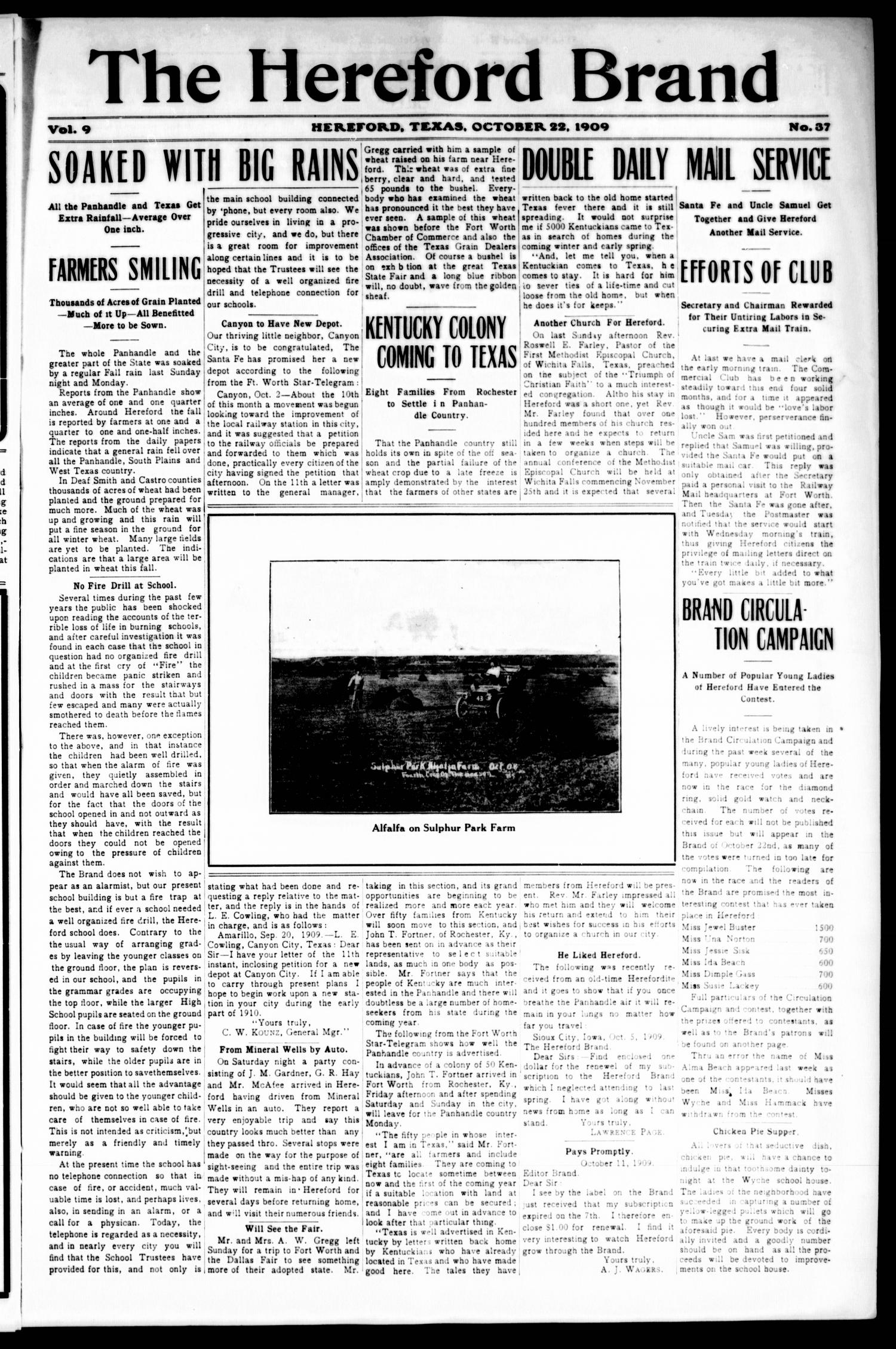 The Hereford Brand, Vol. 9, No. 37, Ed. 1 Friday, October 22, 1909                                                                                                      [Sequence #]: 1 of 12