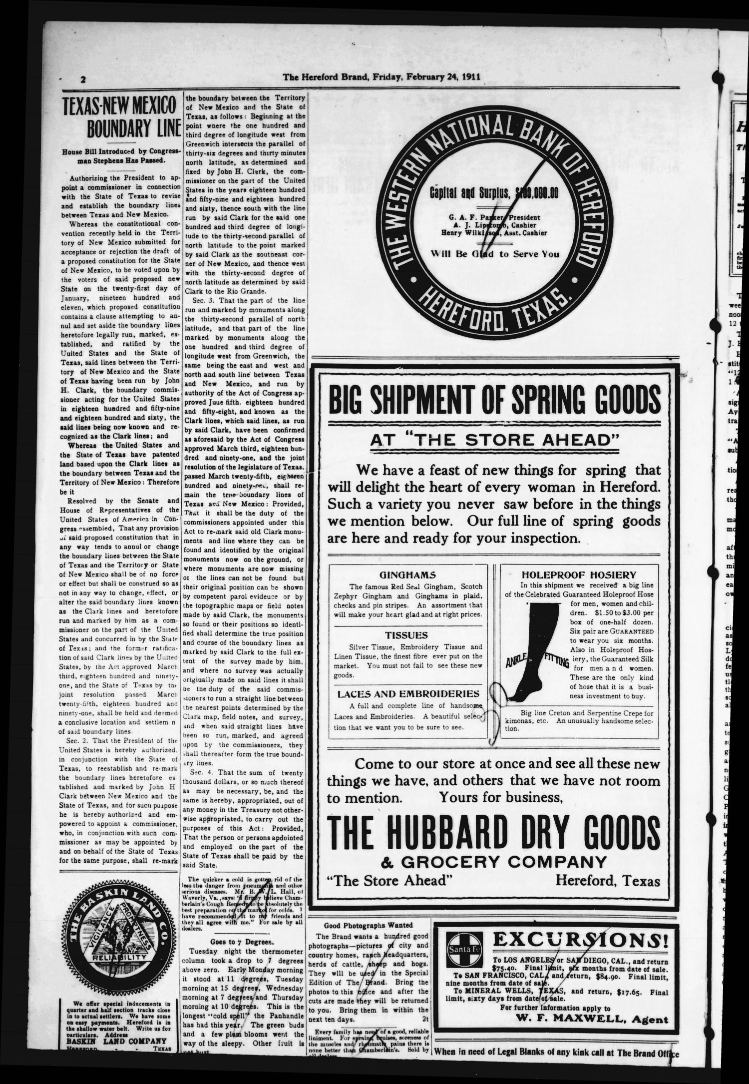 The Hereford Brand, Vol. 11, No. 3, Ed. 1 Friday, February 24, 1911                                                                                                      [Sequence #]: 2 of 6