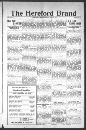 The Hereford Brand, Vol. 12, No. 19, Ed. 1 Friday, June 14, 1912