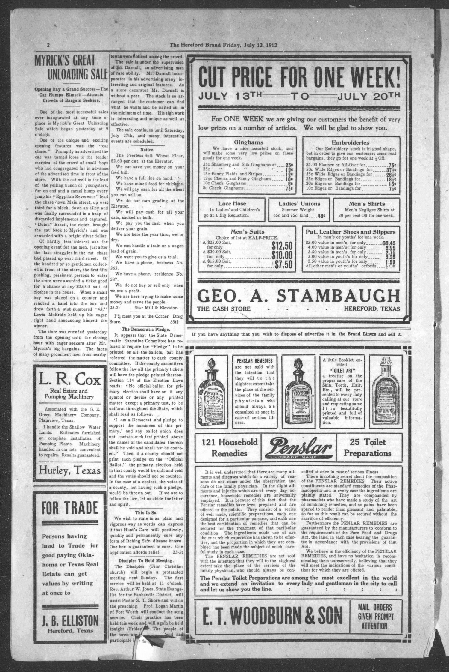 The Hereford Brand, Vol. 12, No. 23, Ed. 1 Friday, July 12, 1912                                                                                                      [Sequence #]: 2 of 8