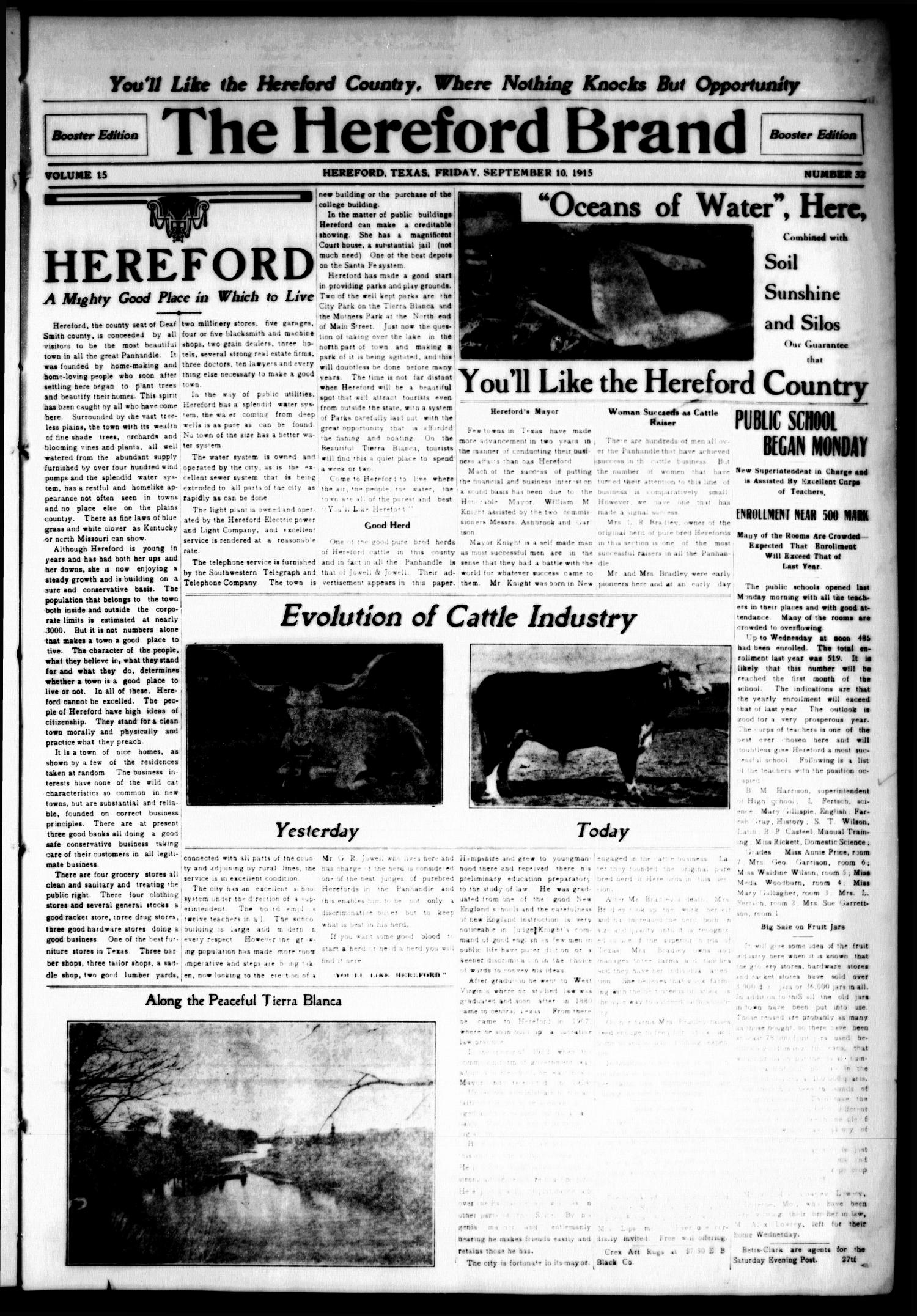 The Hereford Brand, Vol. 15, No. 32, Ed. 1 Friday, September 10, 1915                                                                                                      [Sequence #]: 1 of 32