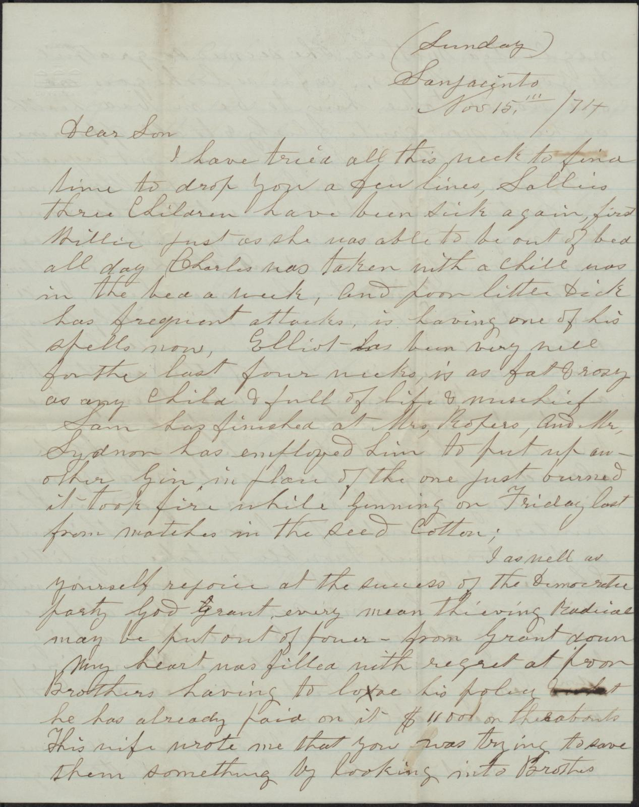 Letter to Cromwell Anson Jones, 15 November 1874                                                                                                      [Sequence #]: 1 of 4