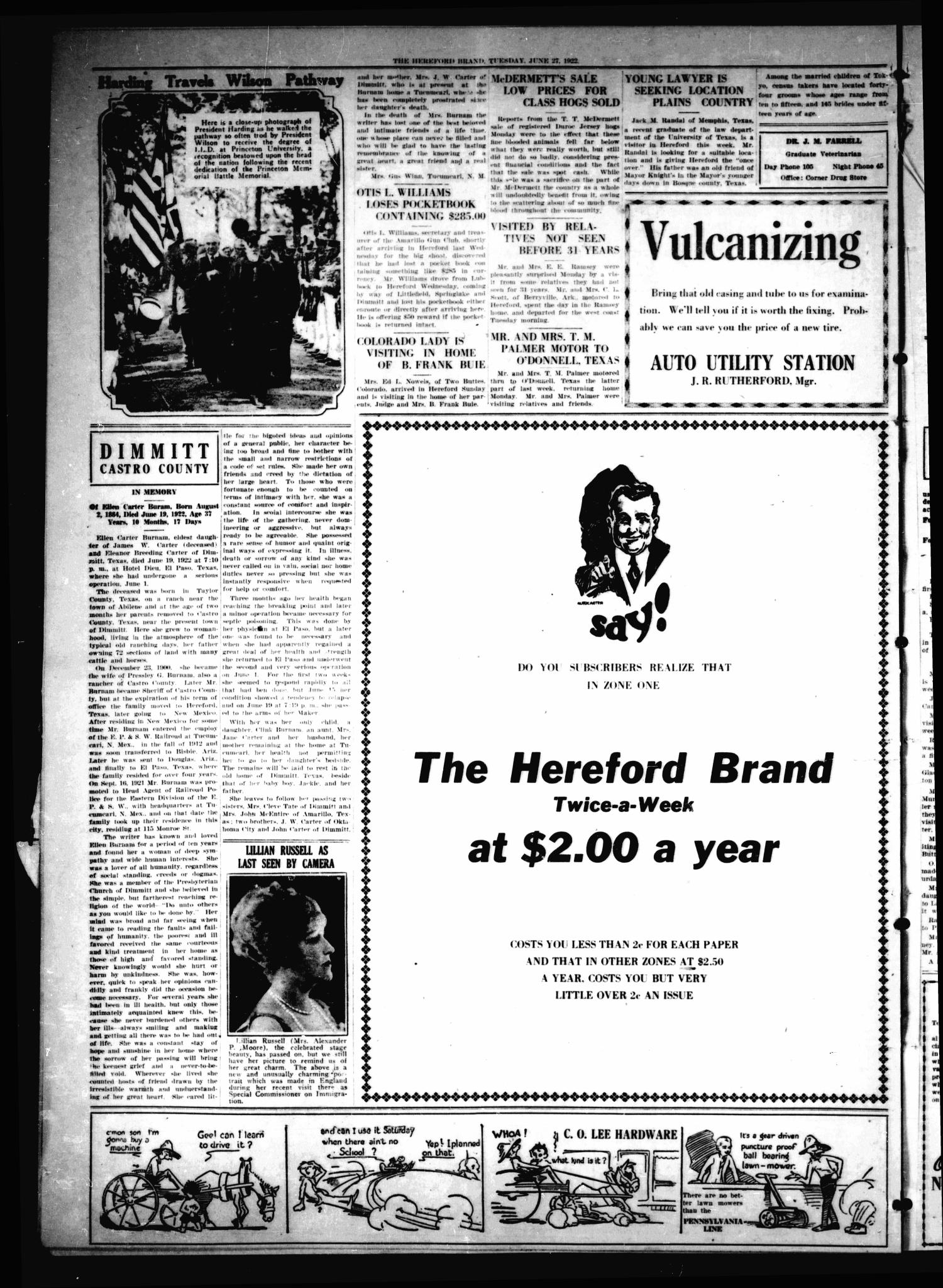 The Hereford Brand, Vol. 22, No. 45, Ed. 1 Tuesday, June 27, 1922                                                                                                      [Sequence #]: 2 of 6