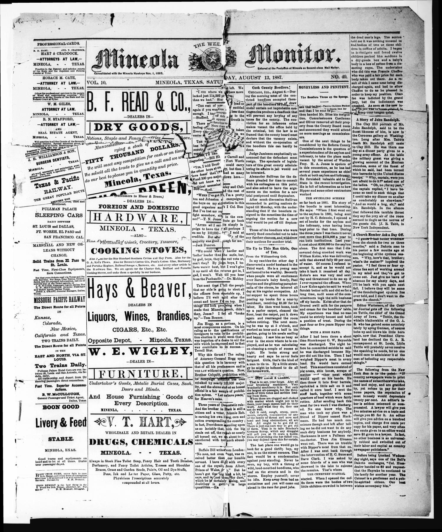 The Weekly Mineola Monitor (Mineola, Tex.), Vol. 10, No. 49, Ed. 1 Saturday, August 13, 1887                                                                                                      [Sequence #]: 1 of 4