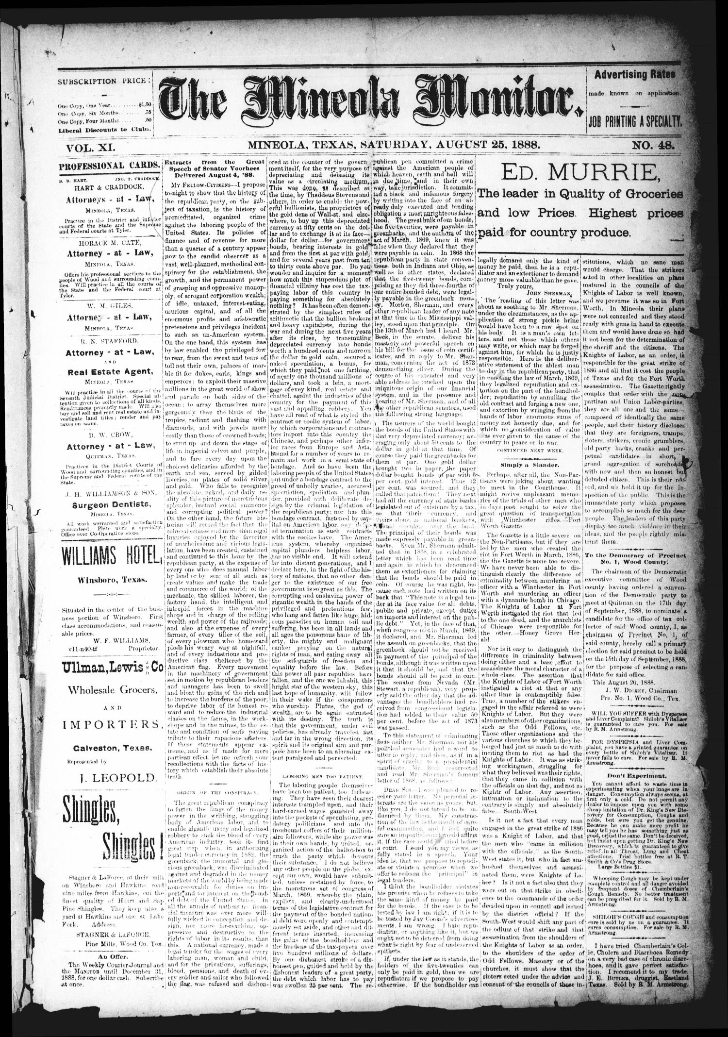 The Mineola Monitor (Mineola, Tex.), Vol. 11, No. 48, Ed. 1 Saturday, August 25, 1888                                                                                                      [Sequence #]: 1 of 8