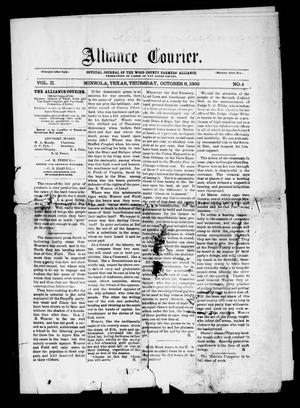 Primary view of object titled 'Alliance Courier (Mineola, Tex.), Vol. 2, No. 4, Ed. 1 Thursday, October 6, 1892'.