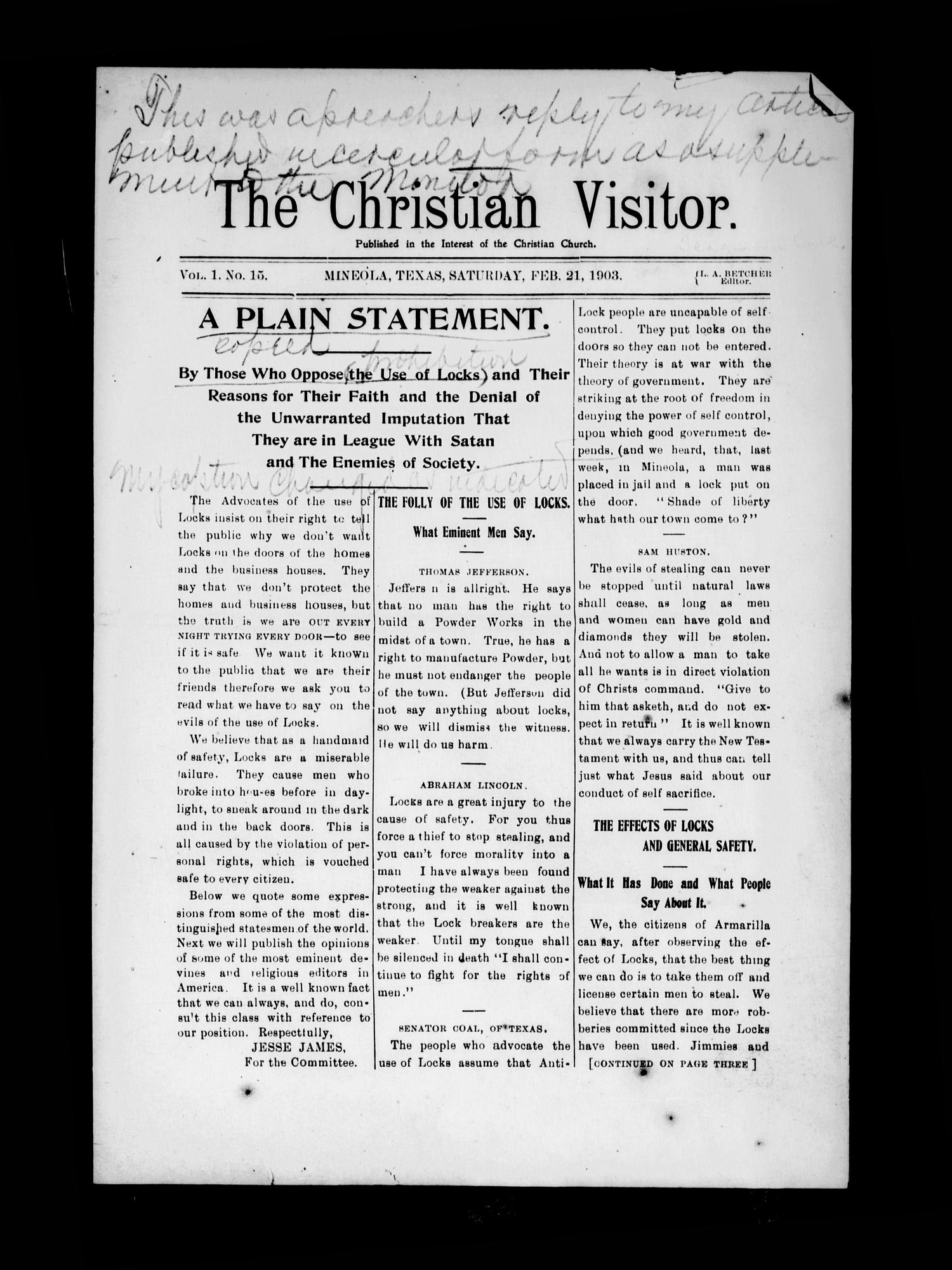 The Christian Visitor (Mineola, Tex.), Vol. 1, No. 15, Ed. 1 Saturday, February 21, 1903                                                                                                      [Sequence #]: 1 of 4