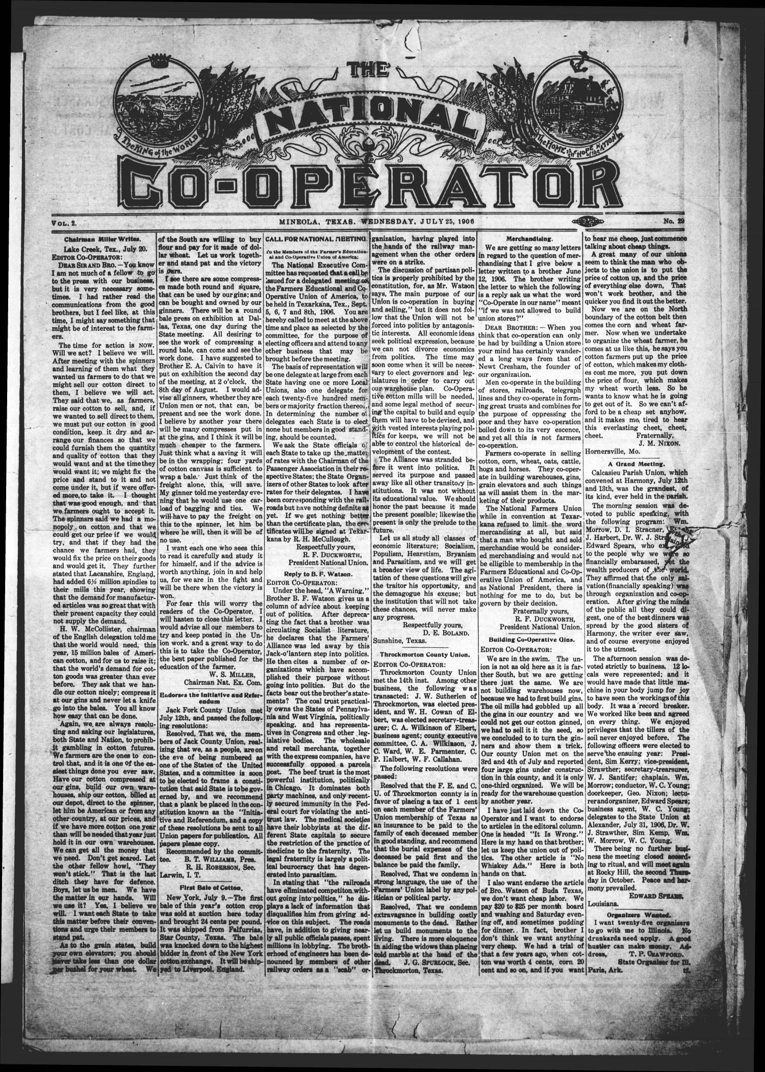 The National Co-Operator (Mineola, Tex.), Vol. 2, No. 29, Ed. 1 Wednesday, July 25, 1906                                                                                                      [Sequence #]: 1 of 8