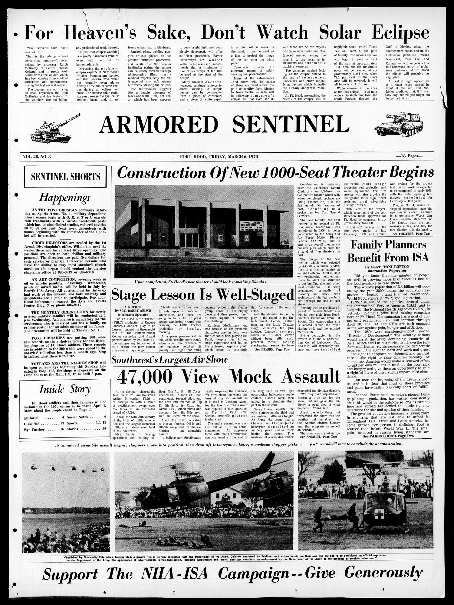 Armored Sentinel (Temple, Tex.), Vol. 28, No. 8, Ed. 1 Friday, March 6, 1970                                                                                                      [Sequence #]: 1 of 18