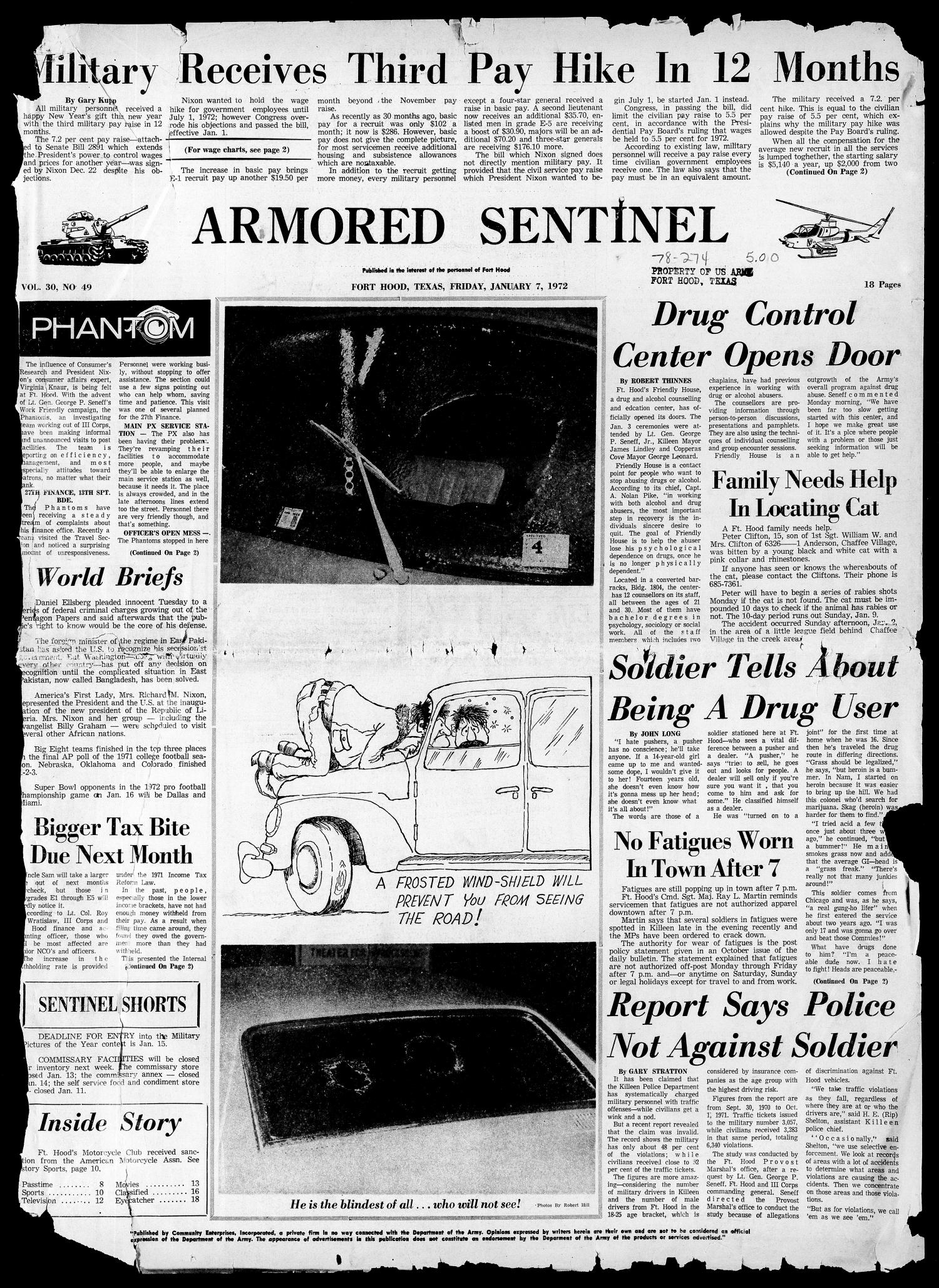 Armored Sentinel (Temple, Tex.), Vol. 30, No. 49, Ed. 1 Friday, January 7, 1972                                                                                                      [Sequence #]: 1 of 18