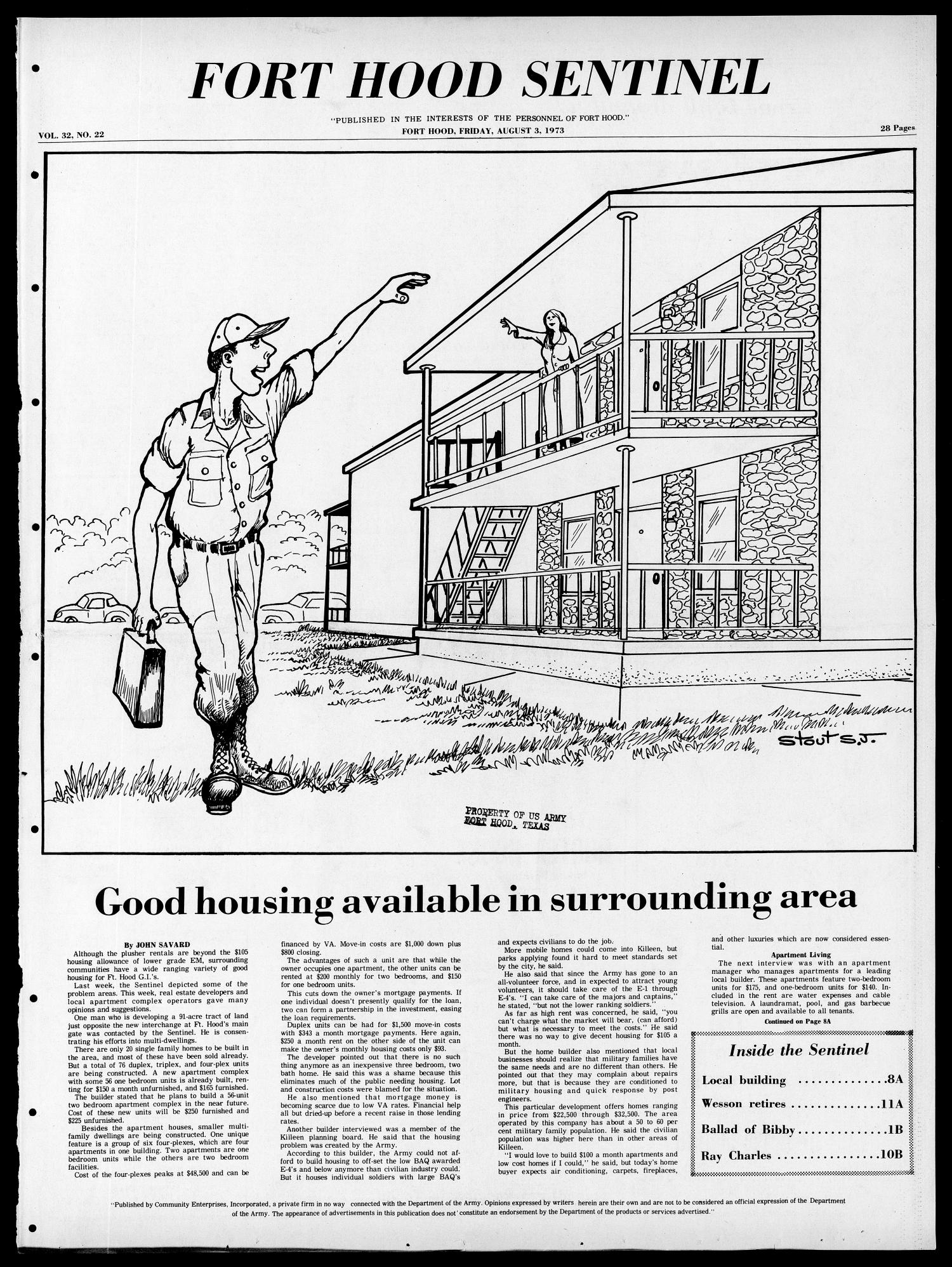 Fort Hood Sentinel (Temple, Tex.), Vol. 32, No. 22, Ed. 1 Friday, August 3, 1973                                                                                                      [Sequence #]: 1 of 28