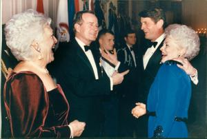 Primary view of object titled '[Barbara and George H.W. Bush speak with Charlie Wilson and Ann Richards]'.
