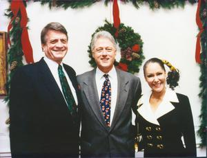 Primary view of object titled '[Charles and Barbara Wilson with Bill Clinton]'.