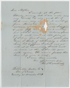 Primary view of object titled '[Letter from John Patterson Osterhout to Sarah Osterhout, December 21, 1851]'.