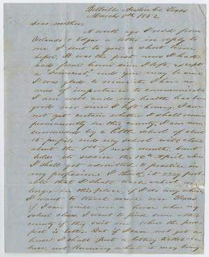 Primary view of object titled '[Letter from John Patterson Osterhout to Sarah Osterhout, March 8, 1852'.