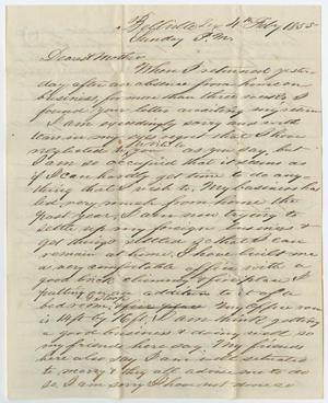 [Letter from John Patterson Osterhout to Sarah Osterhout, February 4, 1855]