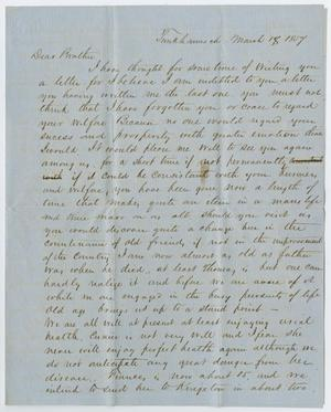Primary view of object titled '[Letter from P. M. Osterhout to John Patterson Osterhout, March 18, 1857]'.