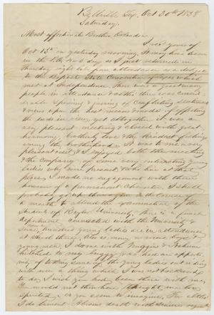 [Letter from John Patterson Osterhout to Orlando Osterhout, October 30, 1838]