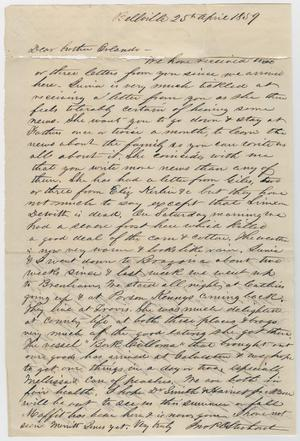 Primary view of object titled '[Letter from John Patterson Osterhout to Orlando Osterhout, April 25, 1859]'.