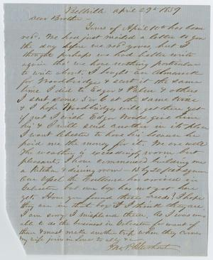 Primary view of object titled '[Letter from John Patterson Osterhout to his Brother, April 29, 1859]'.