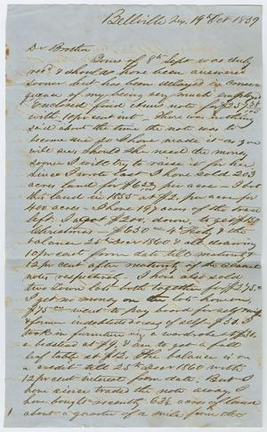 Primary view of [Letter from John Patterson Osterhout to his Brother, October 19, 1859]