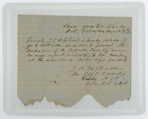 Primary view of object titled '[Letter from J. W. McDade to Headquarters, March 19, 1862]'.