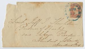 Primary view of object titled '[Envelope to Lieutenant Jeff Thompson, August 18]'.