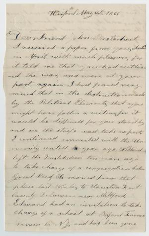 Primary view of object titled '[Letter from Leyman Richardson to John Patterson Osterhout, May 14, 1866]'.