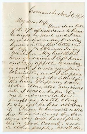 Primary view of object titled '[Letter from John Patterson Osterhout to Junia Roberts Osterhout, November 30, 1870]'.