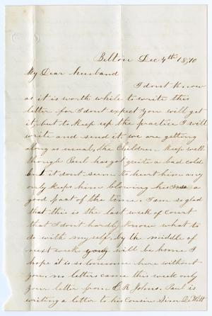 Primary view of object titled '[Letter from Junia Roberts Osterhout to John Patterson Osterhout, December 4, 1870]'.